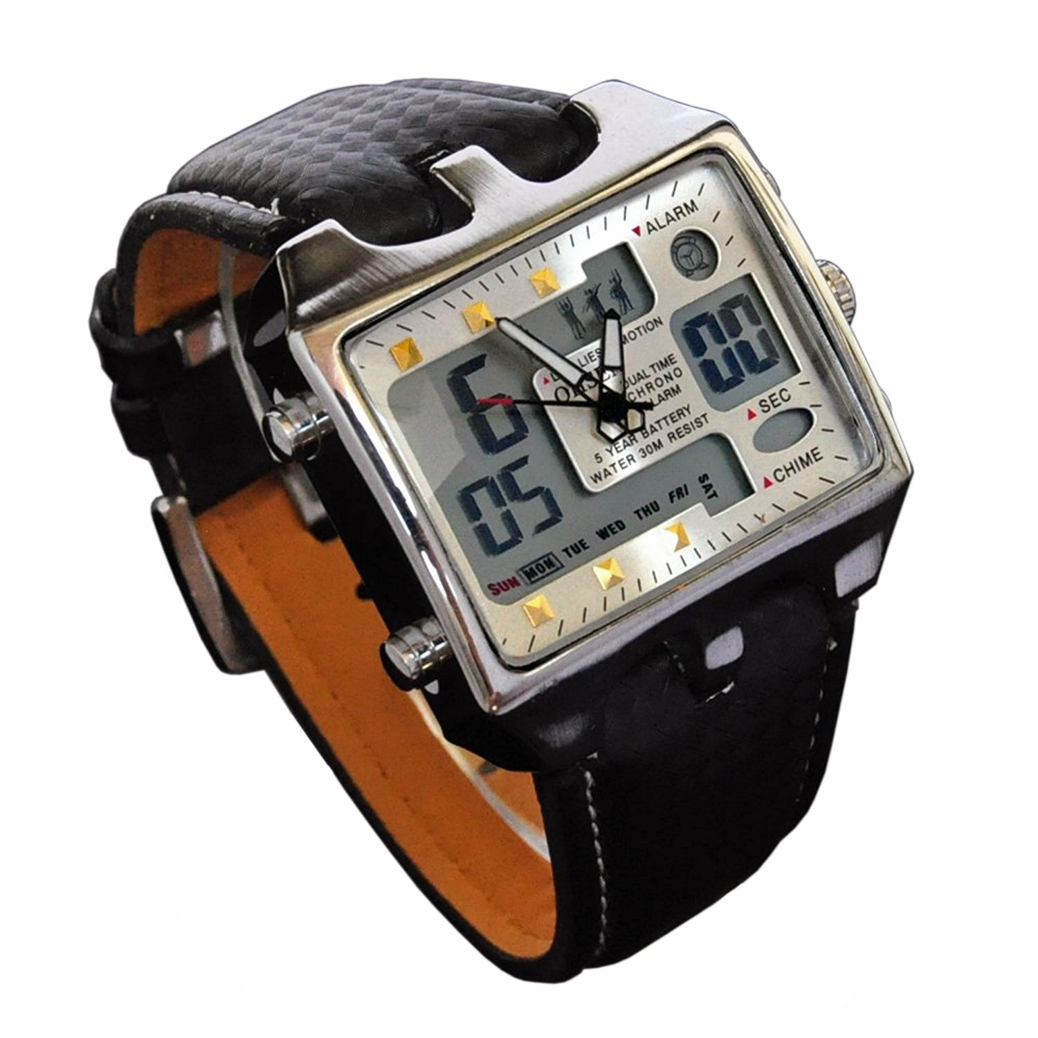 ShoppeWatch Mens Referee Sports Watch Big Square Face LED Dual Time Analog Digital Light Up Dial Stopwatch Leather Band Relojes Deportivos de Hombre ...