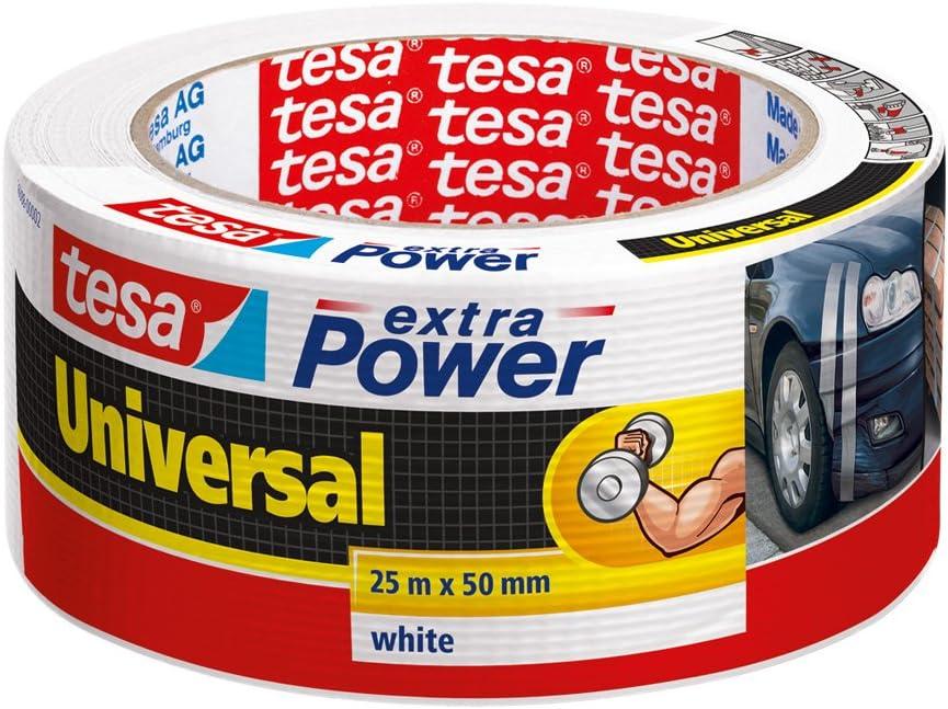 tesa 56388-00002-05 56388-00002-05-Cinta de tejido con malla Extra Power Universal Encelofanada-25m x 50mm Blanca, 25 M X 50 Mm