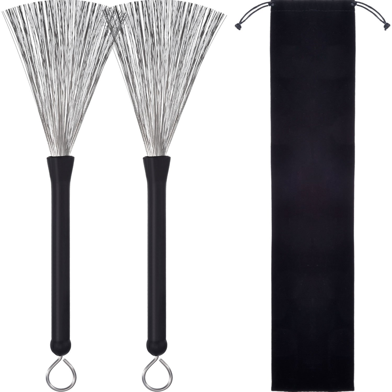 Pangda 1 Pair Drum Brushes Retractable Wire Brushes Drums Drum Sticks Brush with Comfortable Rubber Handles