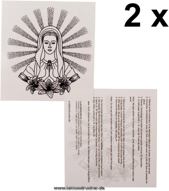 2 x Virgen María que reza como Tatuaje Temporal - Virgin Maria ...