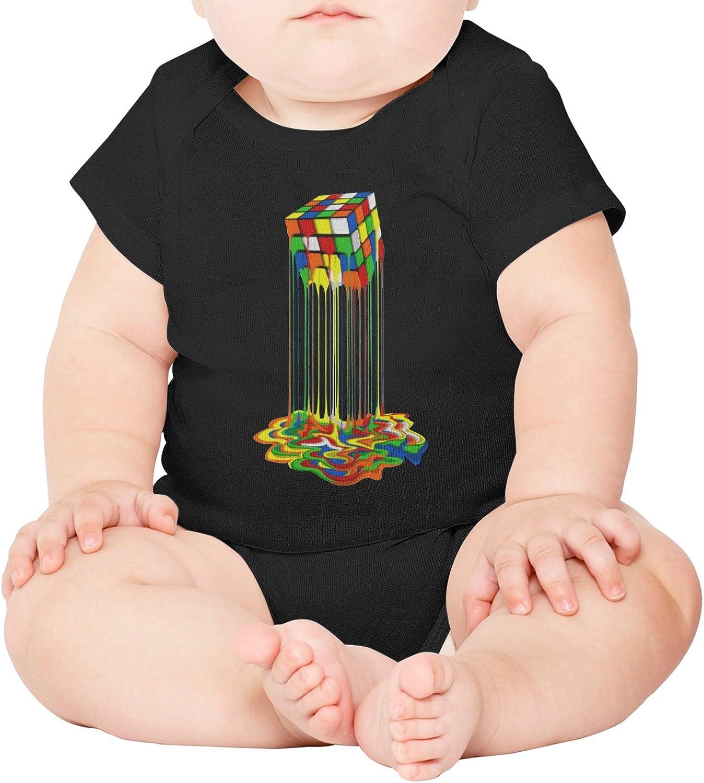 M2VIK9 Baby Romper Short Sleeve Clothes Jumpsuit Rainbow Melted Rubix Cube Bodysuit Playsuit Outfits
