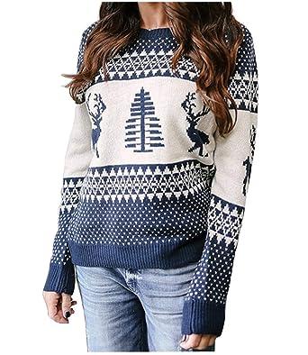 Dreamskull Damen Frauen Strickpullover Weihnachtspullover Weihnachtspulli  Weihnachten Pullover Oberteile Pulli Grobstrick Sweater mit Weihnachtsmotiv  ... 8b7b620595