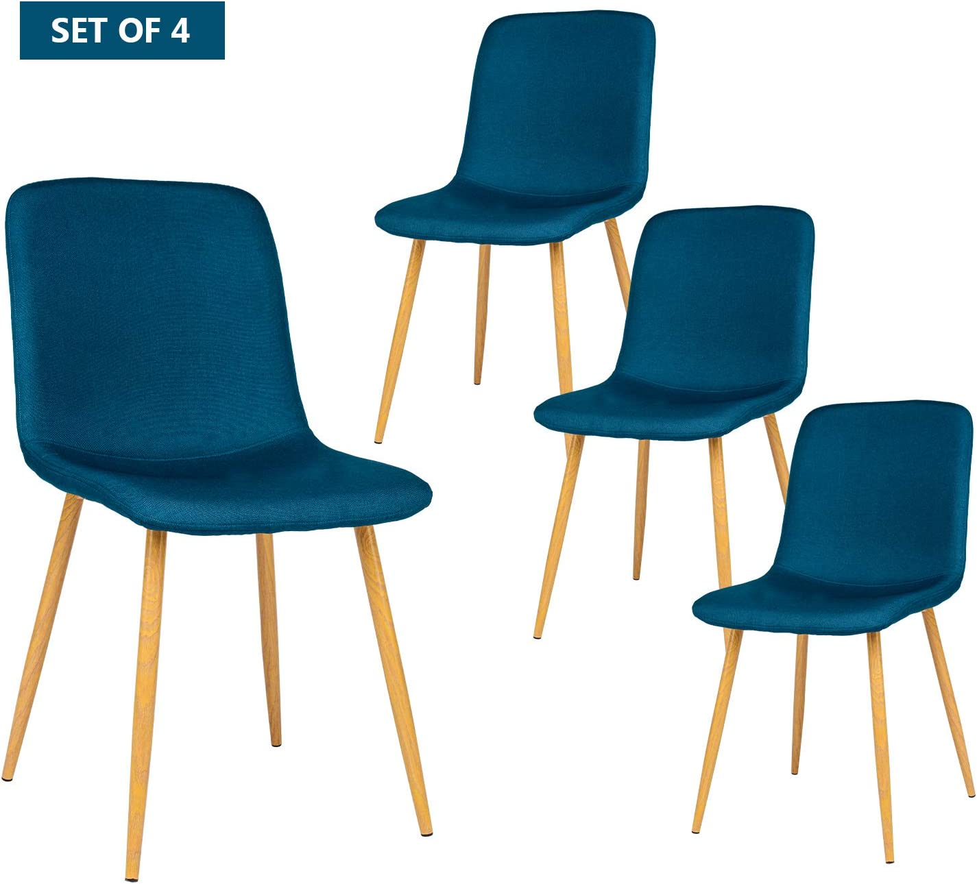 BAHOM Set of 4 Kitchen Dining Chairs, Mid Century Modern Upholstered Chair for Kitchen, Dining, Bedroom, Living Room Light Blue