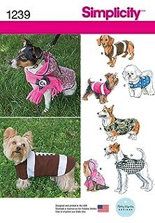 Simplicity 1239 Tamaño un patrón de Costura para Abrigos de Perro en 3 tamaños