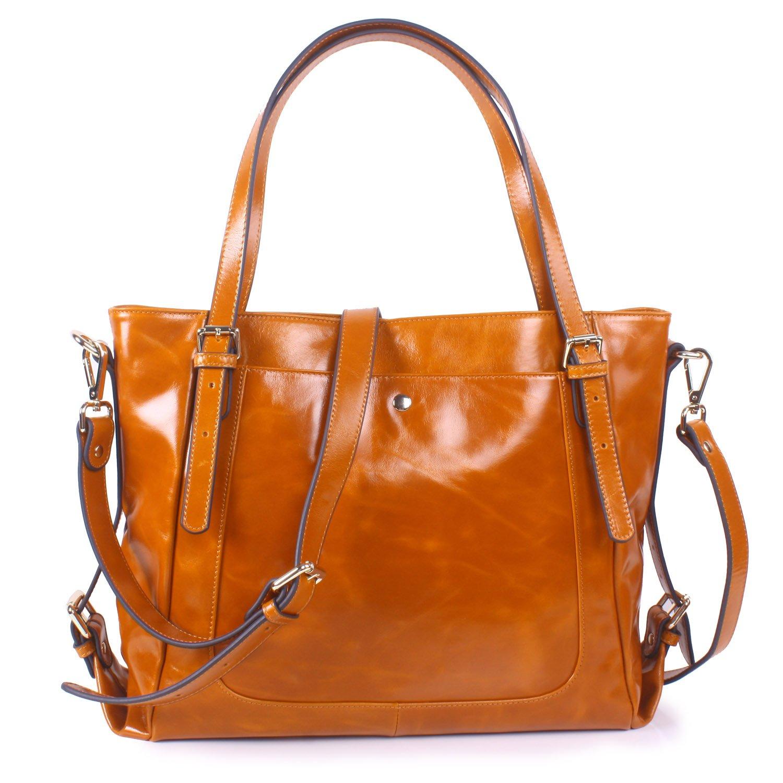 Yafeige Women's Handbag Vintage Soft Genuine Leather Shoulder Tote Top-handle Bag Cross-Body Bags Satchel Purse(Brown)