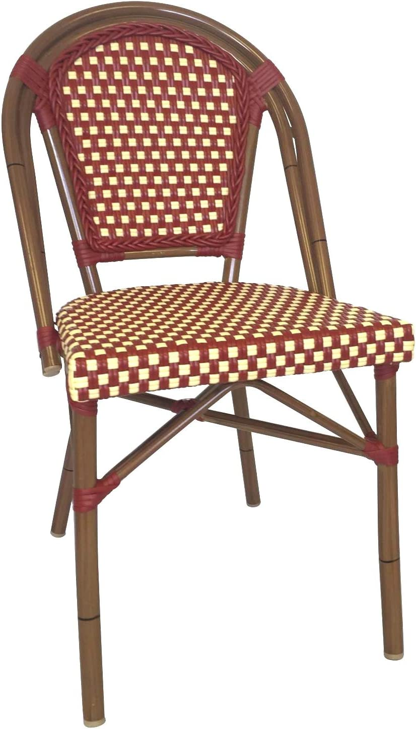 Table in a Bag CBCRW Faux Bamboo All-Weather Wicker Stackable Bistro Chair, Red with White Accents