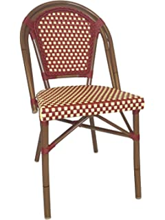 table in a bag cbcrw faux bamboo allweather wicker stackable bistro chair red - Bistro Chairs