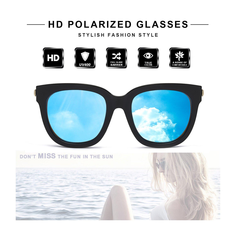 Gafas de Sol Mujer Polarizadas - Clásico Espejo Estilo Marco de ... ac9766475957