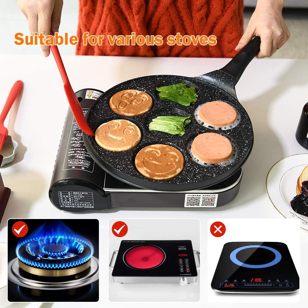 a Nonstick Pancake Maker That Can Make 7 Unique Pancakes at One Time Gmzcky 10-inch Emoji Smiley Face Mini Pancake Pan a Pancake Griddle That Makes Children Fall in Love With Breakfast.