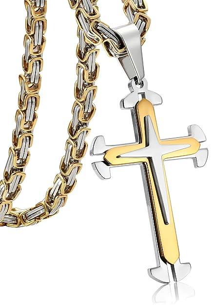 Jstyle joyería Cruz bizantina Colgante, Collar de Acero Inoxidable de los Hombres con el Color de la Plata y el Oro Collares Largos 55,61,71 CM