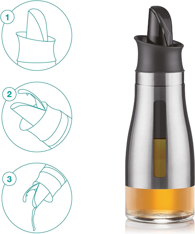 BERELA HOME Aceitera de Acero Inoxidable Antigoteo DISHON, Dispensador de Aceite con Sistema de Apertura Automático, Botella para Aceite o dispensador de Aliño de Acero Inoxidable, 300 ml