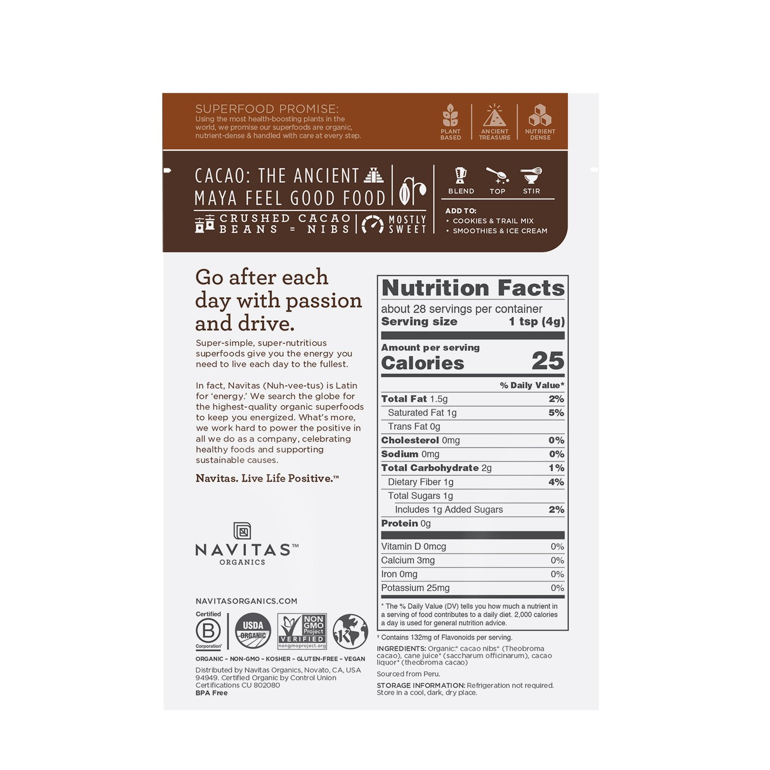 Navitas Cacao Nibs Nutrition Facts Nutrition Ftempo