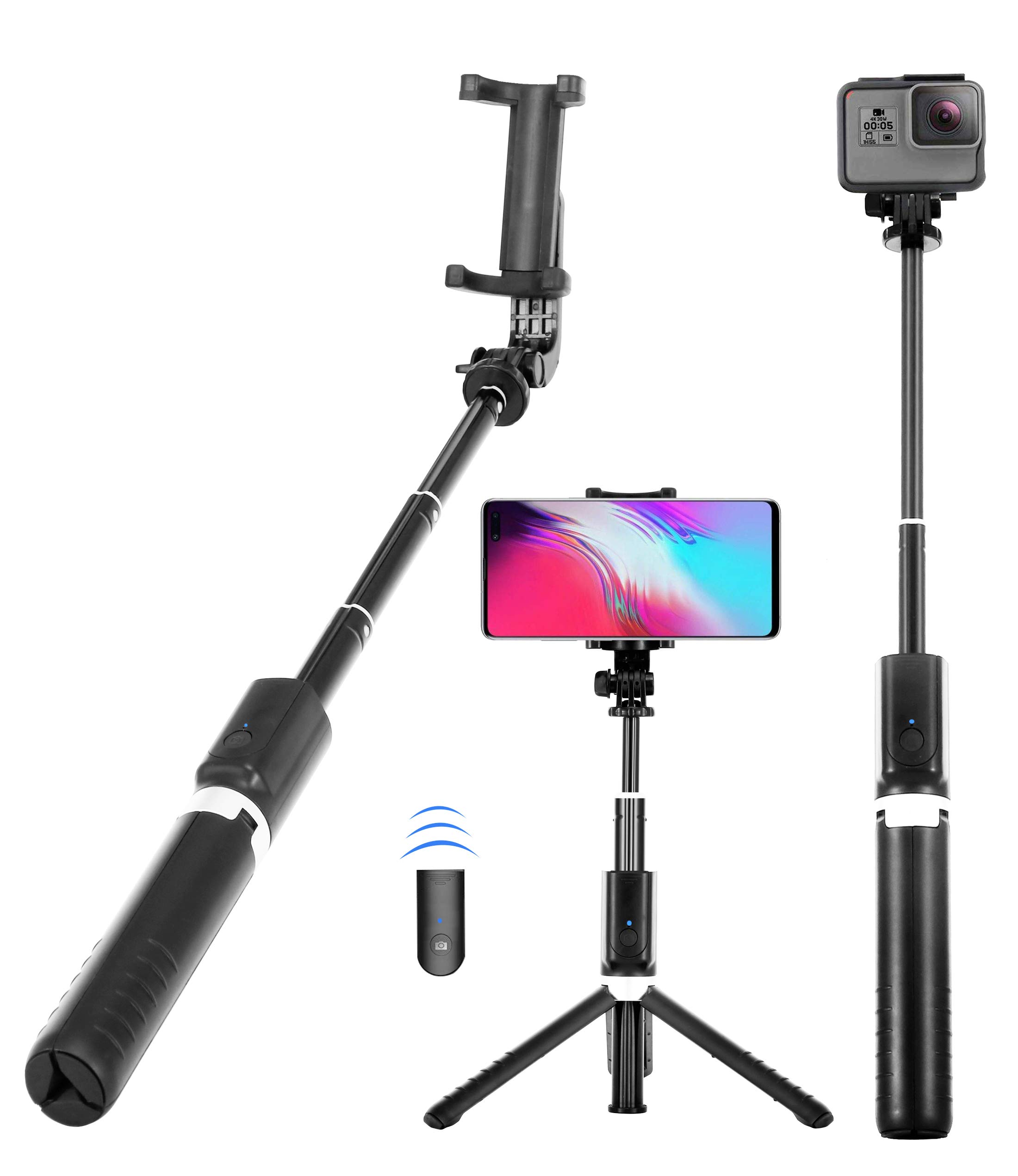 Selfie Stick, Upgrade 32 inch Extendable Selfie Stick Tripod with Wireless Remote and Phone Tripod Selfie Stick for iPhone Xs XR MAX/iPhone 8/8 Plus/iPhone 7 Plus/Galaxy S9 Plus/Note 9/8/LG/Gopro