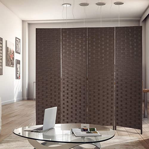 Room Divider Wood Screen 4 Panel Wood Mesh Woven Design Room Screen Divider Folding Portable Partition Screen Screen Wood for Home Office Brown