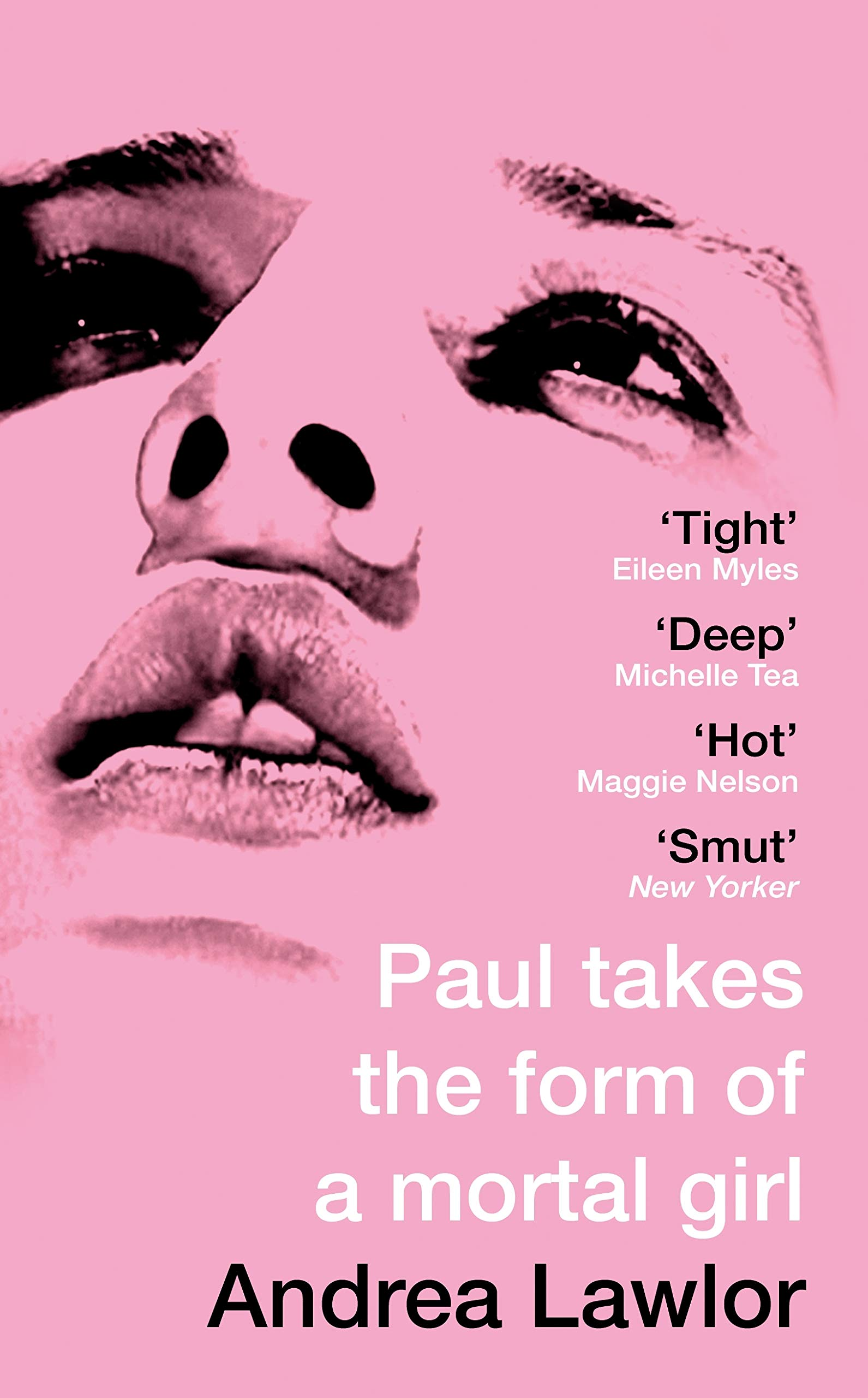 A pale pink book cover with a young androgynous face with parted lips.