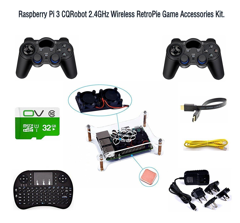 CQRobot Raspberry Pi 3 2.4GHz Wireless RetroPie Game Accessories Kit, Pre-Installed Emulators.