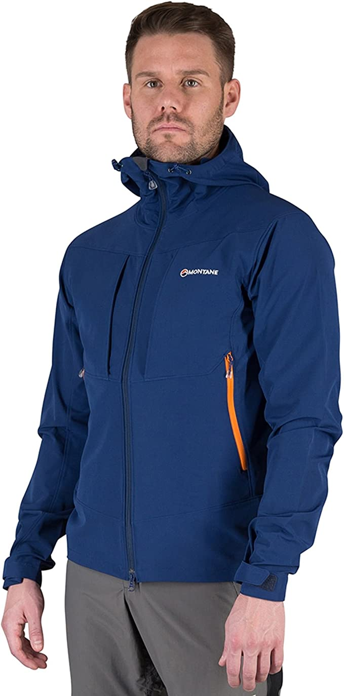 Montane Mens Dyno Stretch Outdoor Jacket Top Blue Sports Outdoors Full Zip
