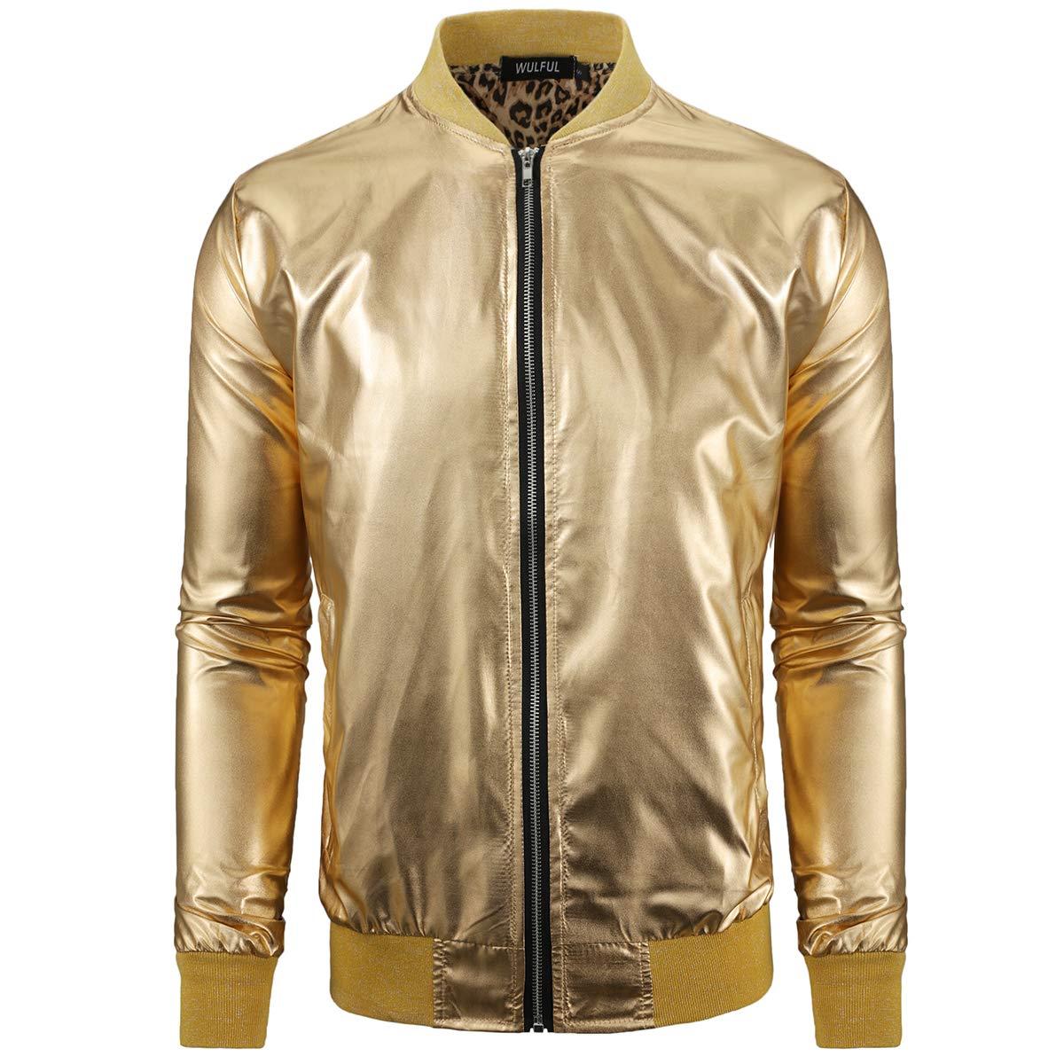 WULFUL Men Metallic Party Nightclub Jackets Gold Halloween Zip Up Baseball Bomber Jacket by WULFUL