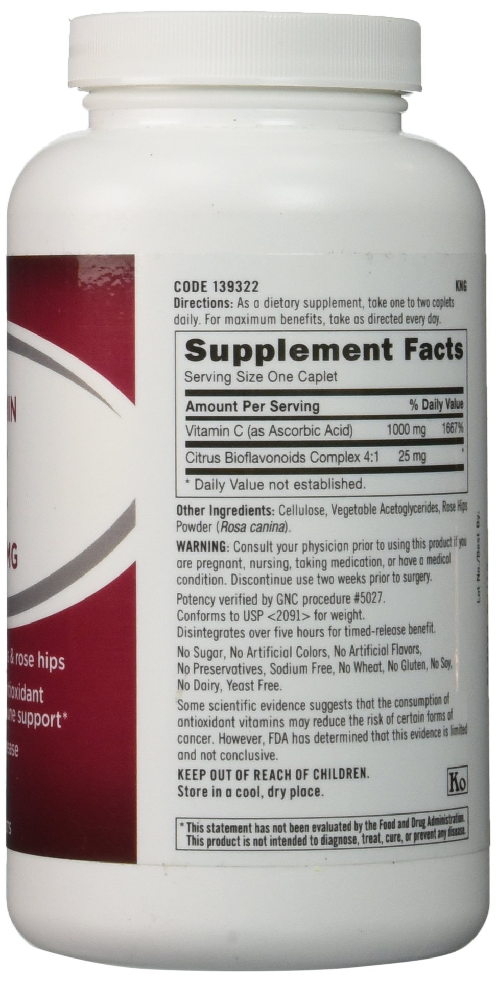 GNC Vitamin C 1000 with Bioflavonoids and Rose Hips Timed Release 180 Tablets