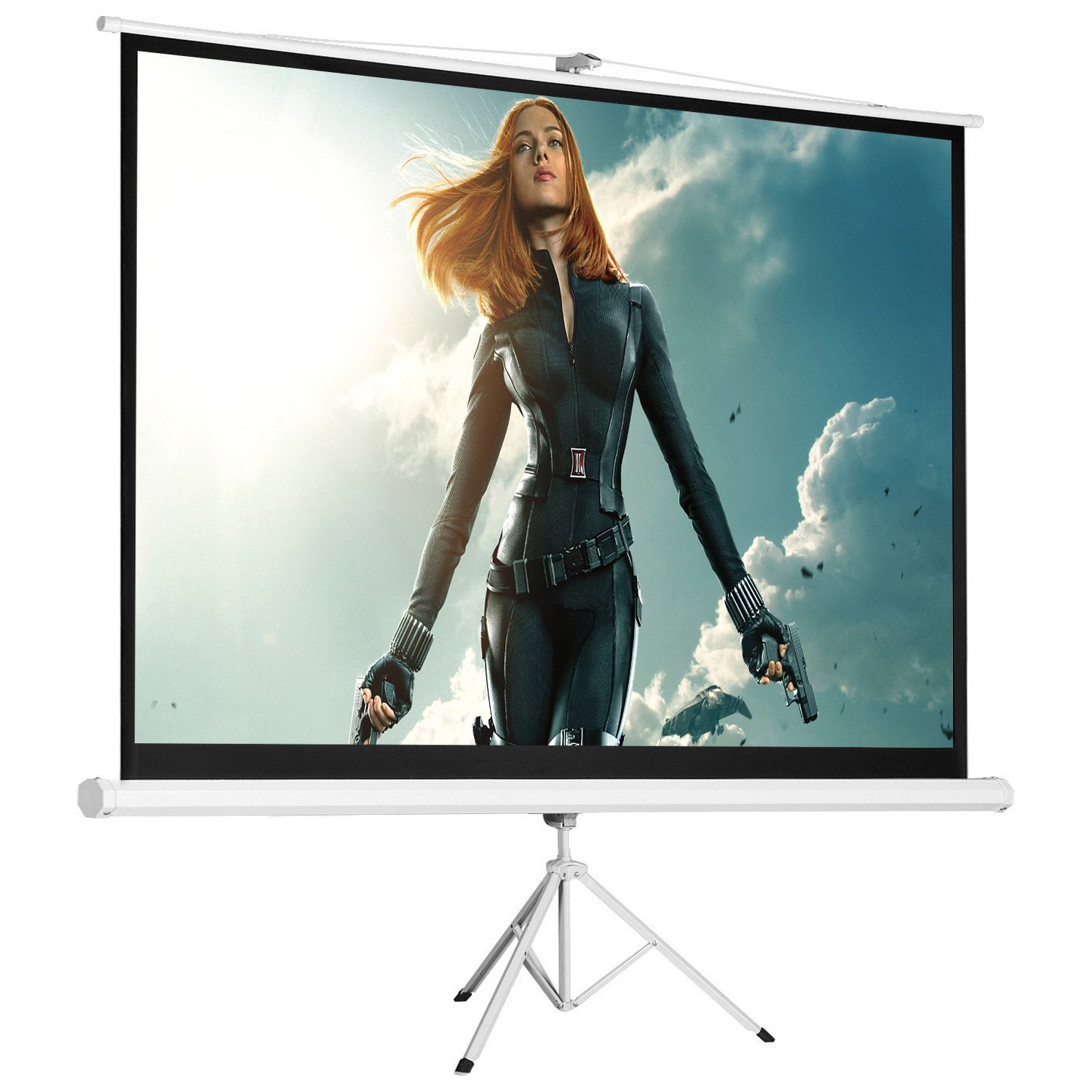 Cloud Mountain 84'' 4:3 HD Portable Tripod Stand Projector Screen Home Office Multi Aspect Ratio Home Theater Pull Up Matte White 1.3 Gain