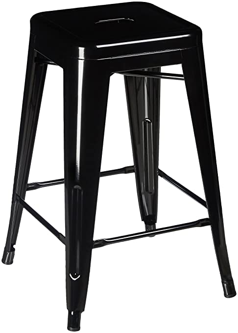 Pleasing Pioneer Square Haley 24 Inch Backless Square Seated Counter Height Metal Stool Set Of 4 Jet Black Lamtechconsult Wood Chair Design Ideas Lamtechconsultcom