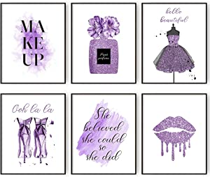 Purple Flower Perfume Fashion Canvas Wall Art Prints Set of 6 Wall Pictures for Bedroom Makeup Art Girls Room Wall Decor (8