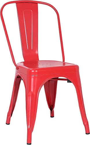 Poly and Bark Trattoria Modern Mid Century Industrial Side Dining Chair, Red