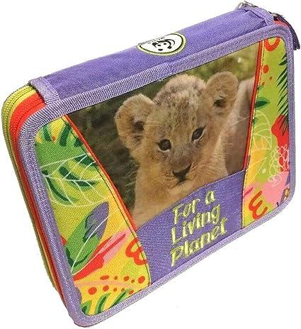 Estuche escolar WWF Jungle para niña Maxi 2 pisos Girl Zip completo + bolígrafo con purpurina + tarjeta de regalo WWF: Amazon.es: Oficina y papelería