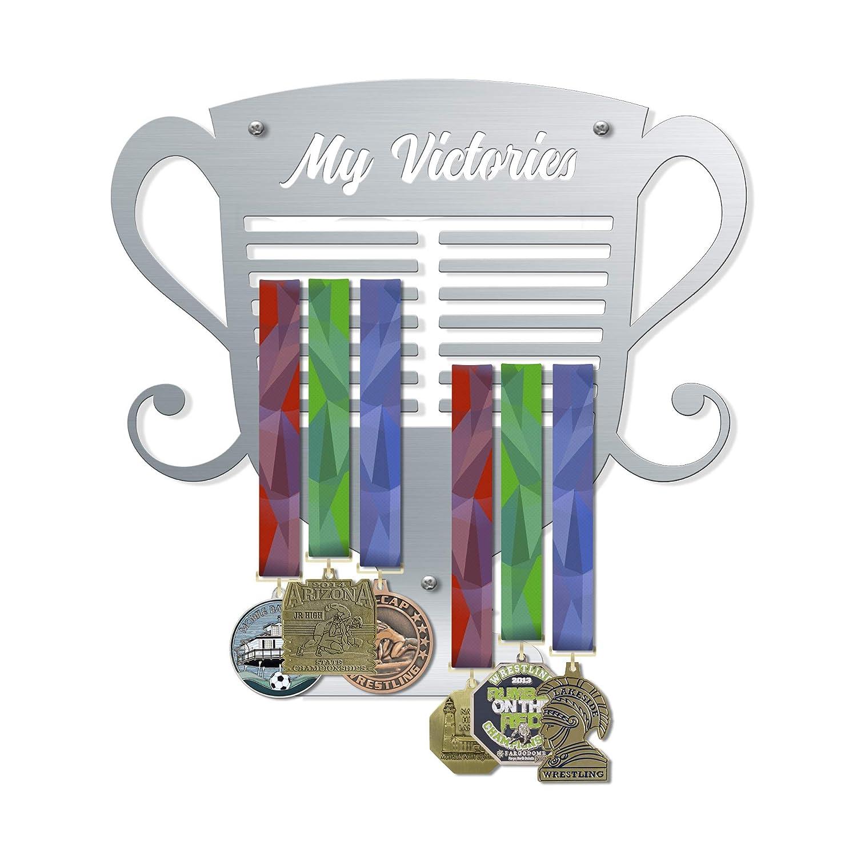 VICTORY HANGERS My Victories トロフィースタイルメダルハンガー V2 壁取り付けメダルホルダー 最大80個のメダルを表示 エレガントなスポーツウォールデカール 室内装飾 壁装飾