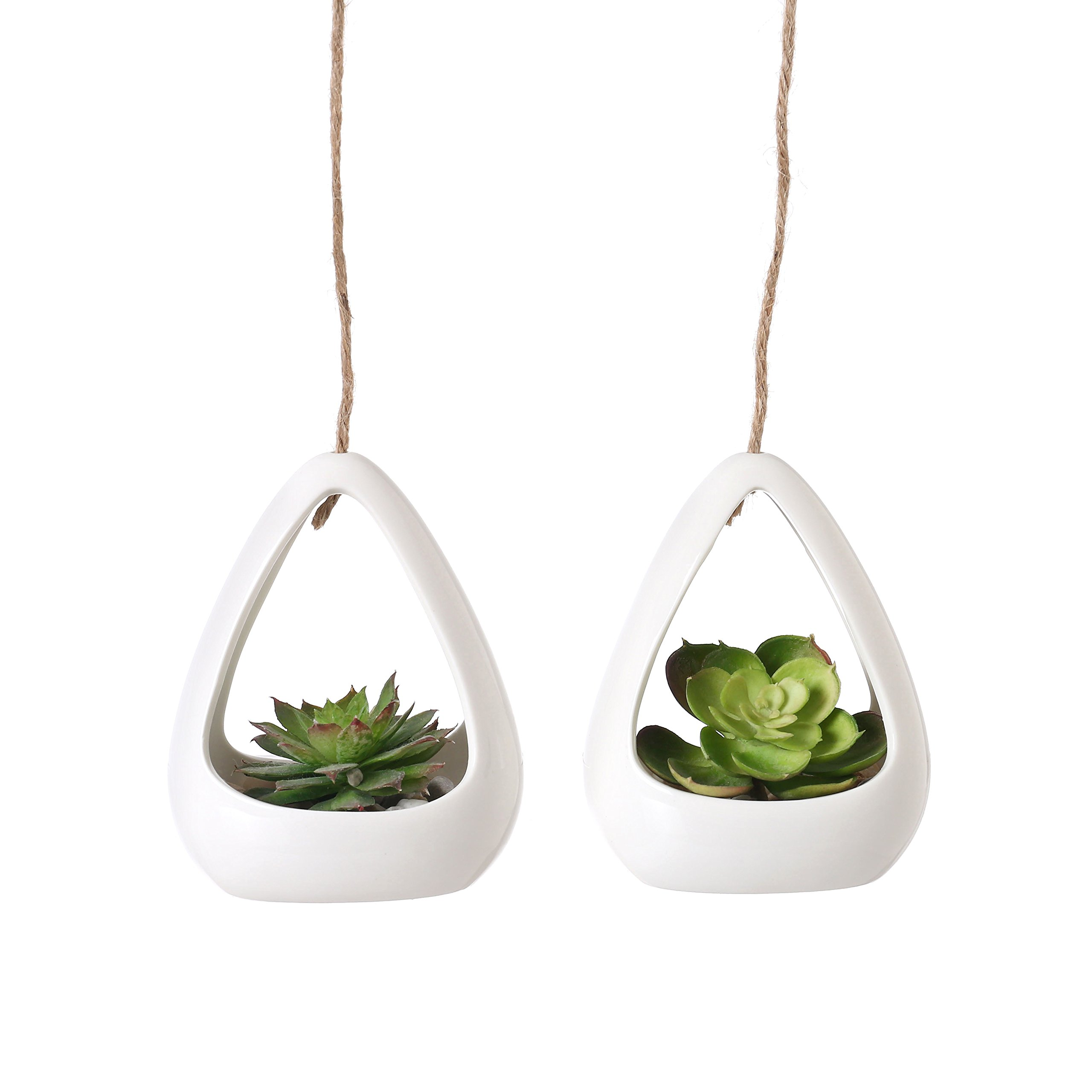 Modern White Ceramic Pod-Shaped Mini Hanging Planters with Twine Rope, Set of 2