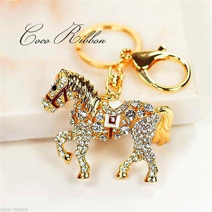 jewelbeauty brillante Running caballo llavero BlingBling ...