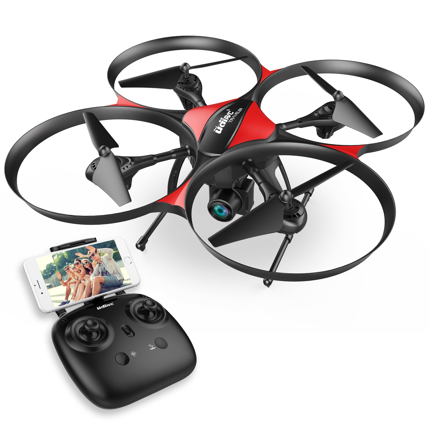 DROCON Traveler Beginner Drone with Optical Anti-Shake HD FPV Camera 1280 x 720P UDI U818PLUS Altitude Hold Stable Quadcopter TF Card 4GB Included