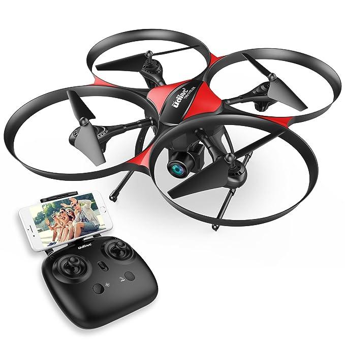 Drocon U818A Plus FPV Drone actualizado con modo de retención de altitud - Cámara HD de 720P y 120 grados de gran angular con función anti-vibración óptica - Quadcopter RC con más tiempo de vuelo
