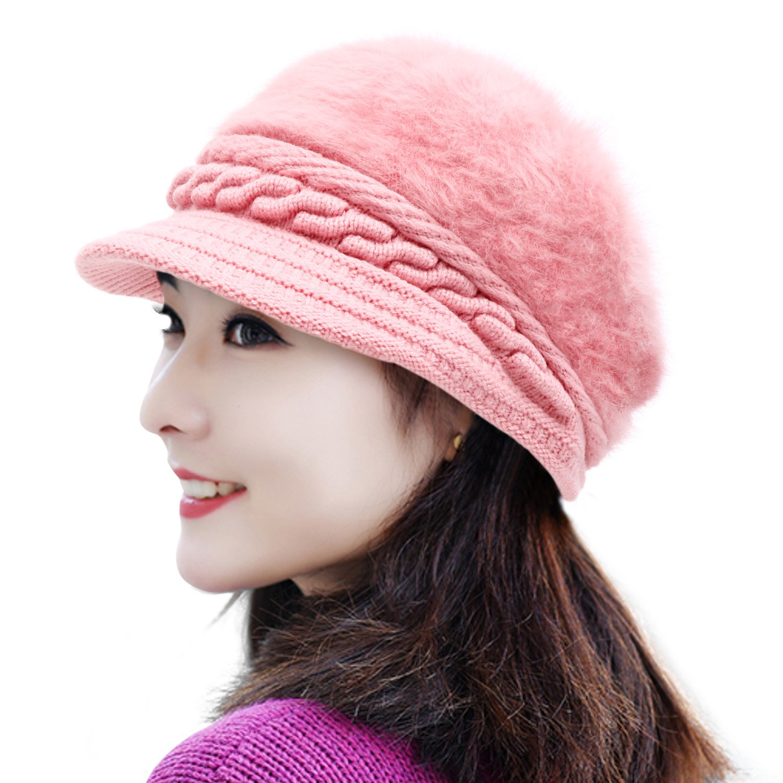 MUCO Womens Beanie Winter Hat Knit Chunky Faux Fur Warm Linling Pom Poms Hat Bobble Hat Ski Cap Csitime CM203-Beret-BGE