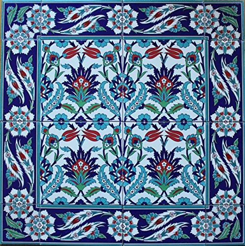 Mural Pattern - Altin Cini Turkish Iznik Tulip & Carnation Pattern Ceramic Tile Mural Panel (24