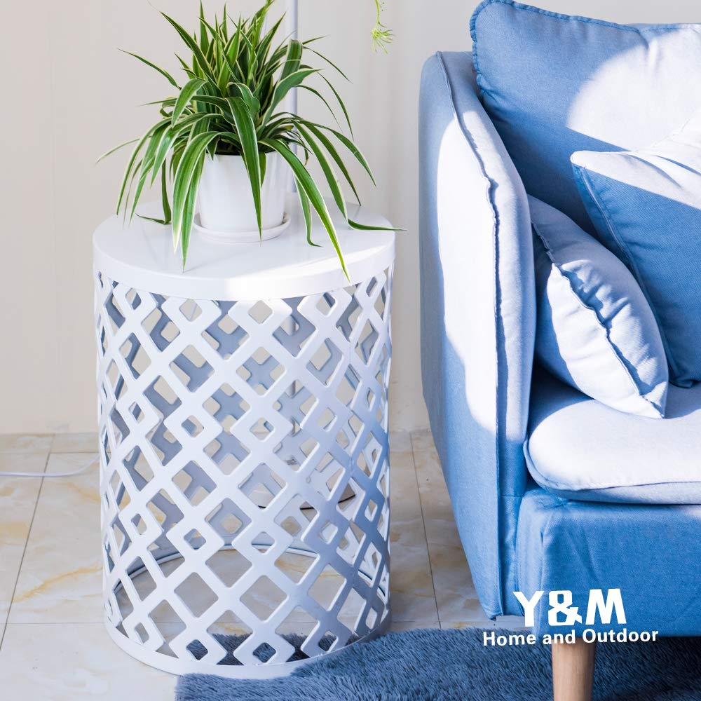 Y&M Round Metal Garden Stool,Side Table for Indoor Outdoor Use,Plant Stand,Set of 3 (White) by Y&M (Image #2)