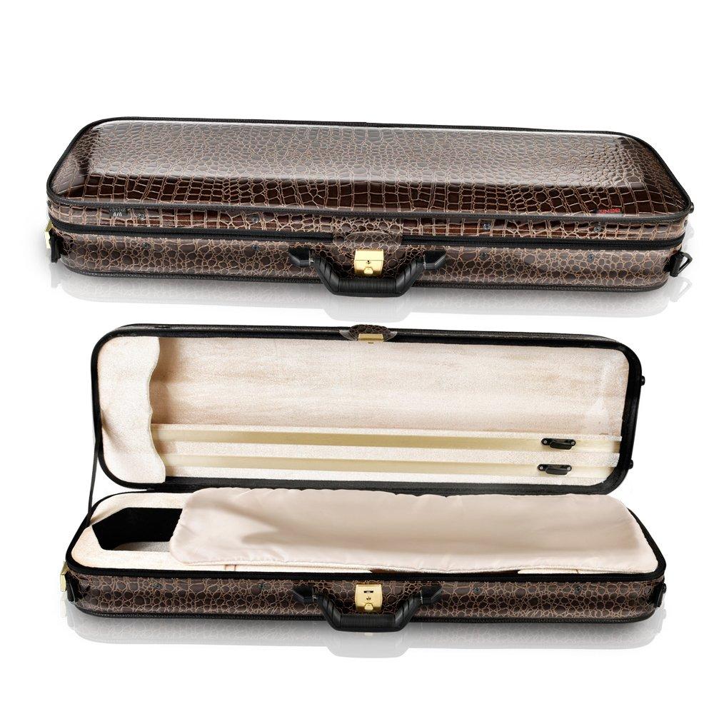 Fino Violin Hard Case Oblong Shape Brown Color Lightweight Case Leather Animal Skin Color