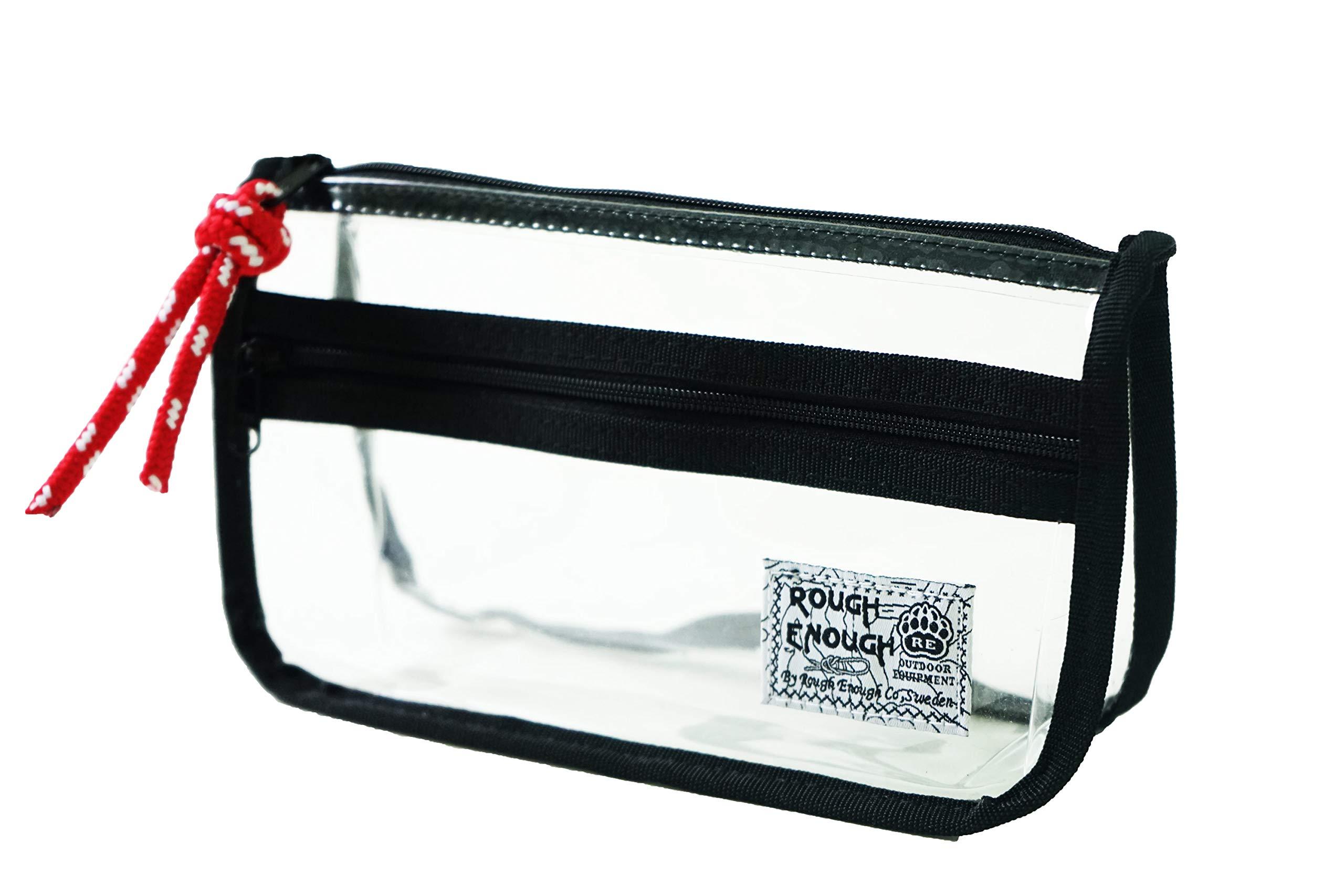 Rough Enough Vintage Clear Transparent Plastic Pencil Case Pouch Zipper Organizer Holder Waterproof Business Receipts Cosmetic Makeup Storage Bag for Boys Girls School Students Kids