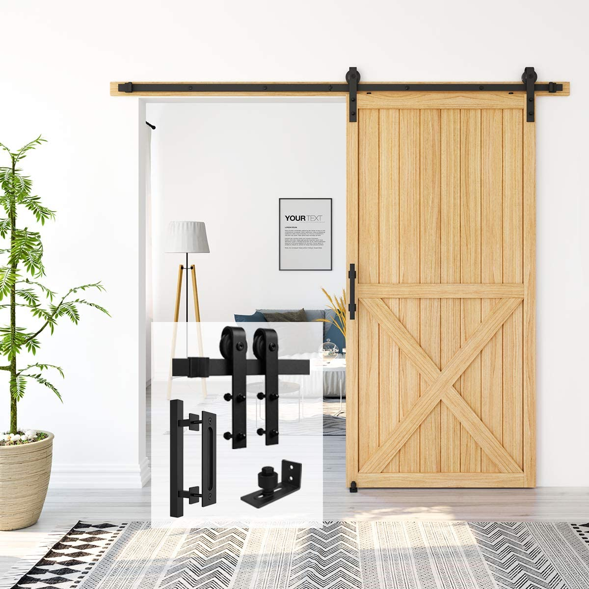 Homlux 8ft Heavy Duty Sturdy Sliding Barn Door Hardware Kit Single Door Whole Set Include 1x Square Door Handle, 1x Floor Guide - Fit 1 3/8-1 3/4