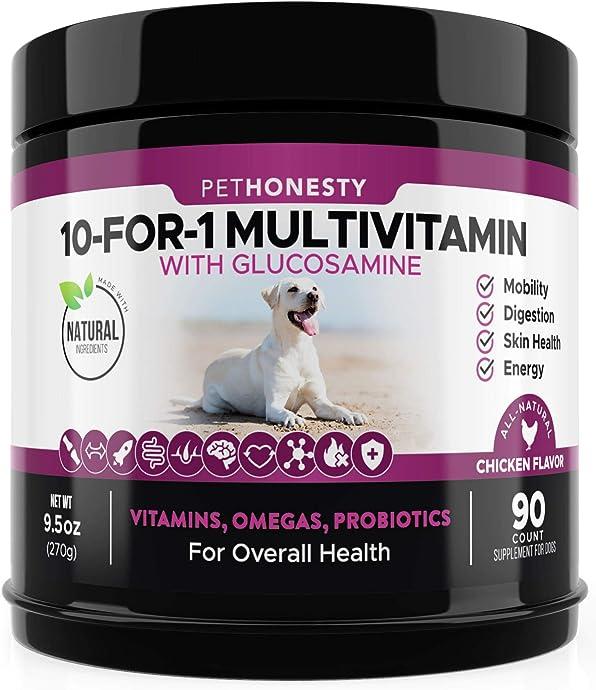 销量第三  PetHonesty 十合一 狗狗营养素 含氨基葡萄糖 270g装 $22.09秒杀 海淘转运到手约¥175