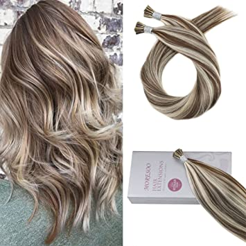 Moresoo 16 Inch Human Hair I Tip Extensions Piano Color #9A Brown  Highlights with Platinum Blonde Hair...