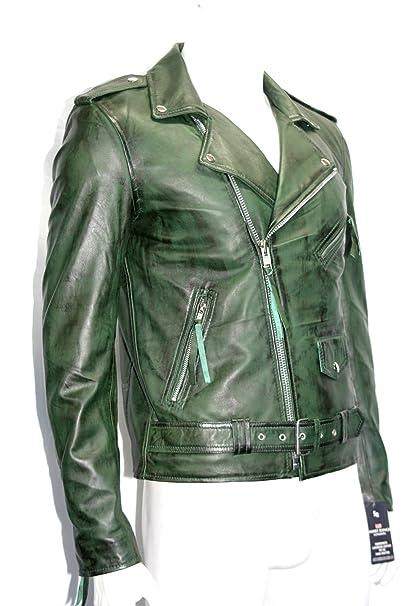 hombre chaqueta de moto verde de cuero de brando moto vaca real hide (UK 3XL
