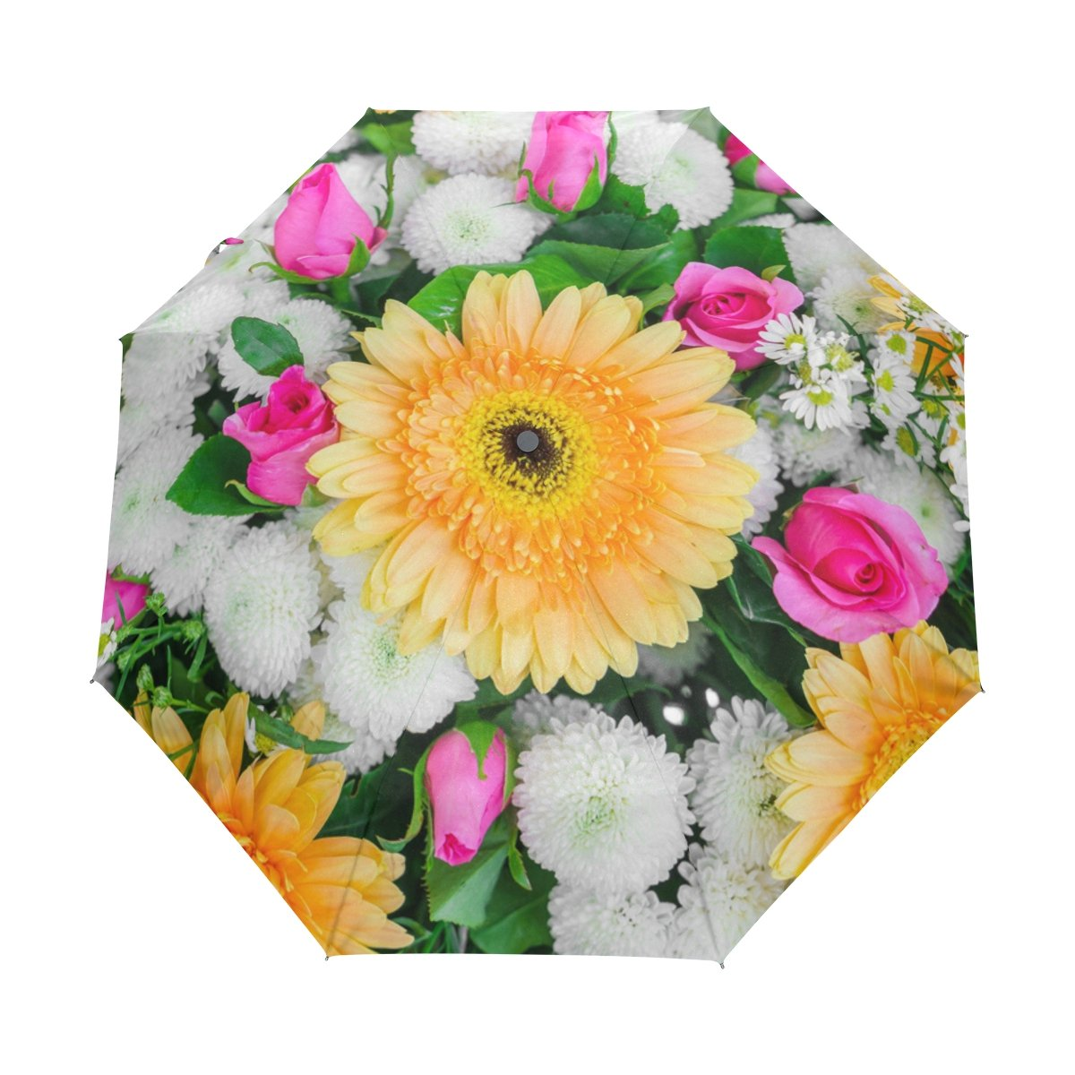 Senya Saobao防風と防雨トラベル傘with自動開いて閉じFolding美しい花バレンタインのとウェディングシーンポータブル折りたたみ式太陽雨傘 B07FFTKQ2T