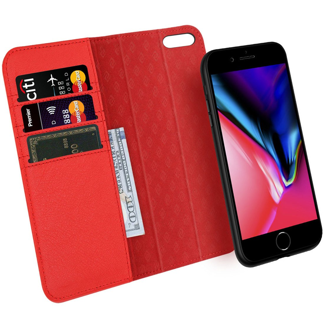 16a352bbf588 ZOVRE Compatible with iPhone 8 7 Wallet Case Detachable Genuine Leather  Kickstand Feature Card Slots Support