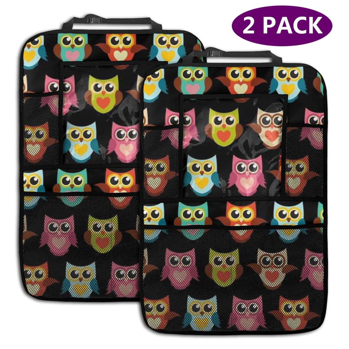 QF6FEICHAN Owl in Colorful Car Seat Back Protectors with Storage Pockets Kick Mats Accessories for Kids and Toddlers by QF6FEICHAN