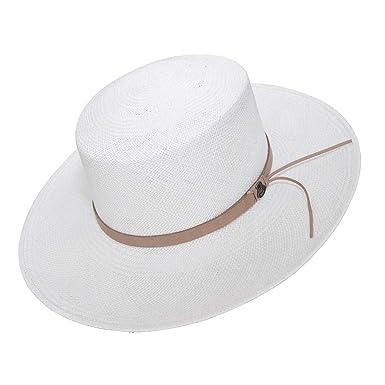 4d6d3b80 Original Panama Hat - Wide Brim Flat Top - Brown Leather Band ...