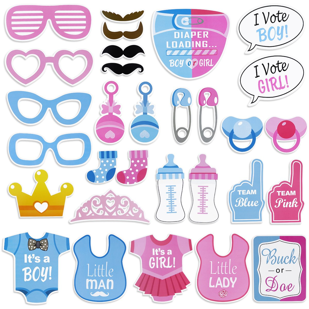 Tinksky Girls Boys Baby Shower Birthday Party Gender Reveal Photo Booth Props on Sticks Set Decorations