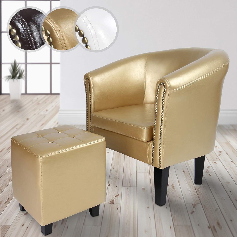 Loungesessel inkl Sitzhocker MIADOMODO/® Chesterfield Sessel mit Hocker Armsessel aus Holz und Kunstleder Farbwahl Cocktailsessel Gold Kupfernieten Wohnzimmer M/öbel Clubsessel