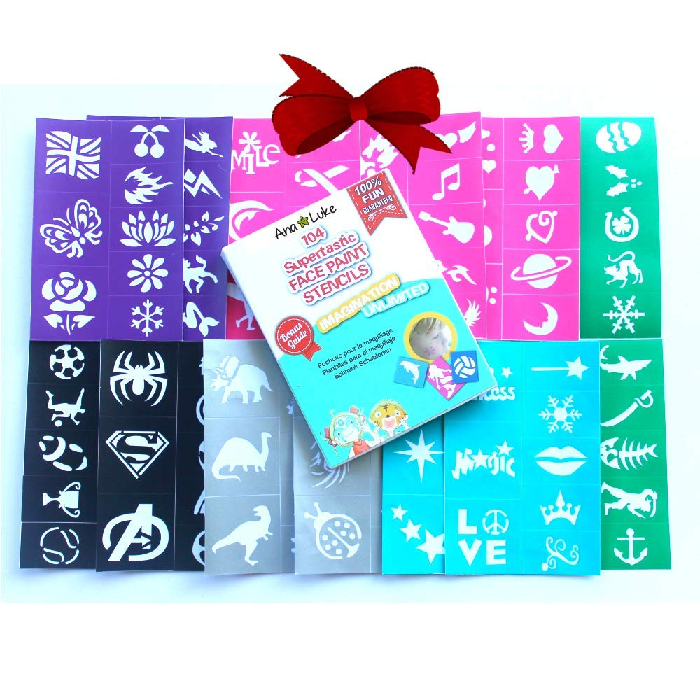 104 Plantillas de Maquillaje Infalibles - Diseños variados para la pintura de la cara para niñas, niños y adultos. Suave, flexible, fácil de usar en el cuerpo. Mantenga a los niños ocupados con el arte y la creatividad ilimitada! Gran valor: ideal para fi