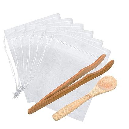 200 Piezas Bolsa de Filtro de Té Desechable Bolsa de Té Vacía Bolsa con Cordón para Té de Hierbas Hojas Sueltas con Pinza y Cucharilla de Té